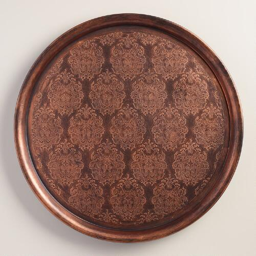 Etched Bronze Round Serving Tray