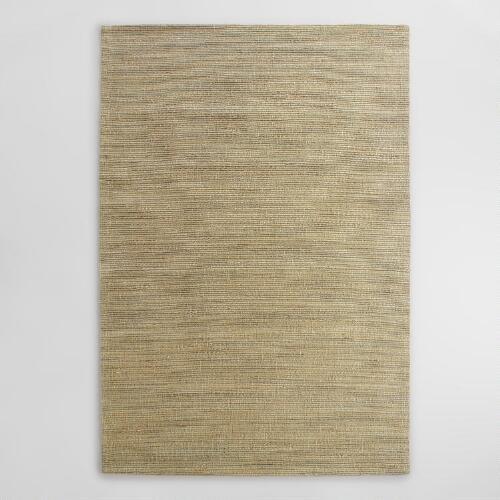 Beige and Gray Melange Flatweave Jute Area Rug