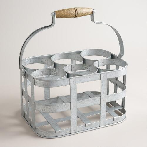 Galvanized Metal 6-Bottle Wine Caddy
