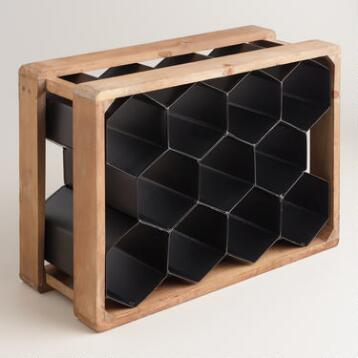 Metal and Wood Honeycomb 11-Bottle Wine Rack