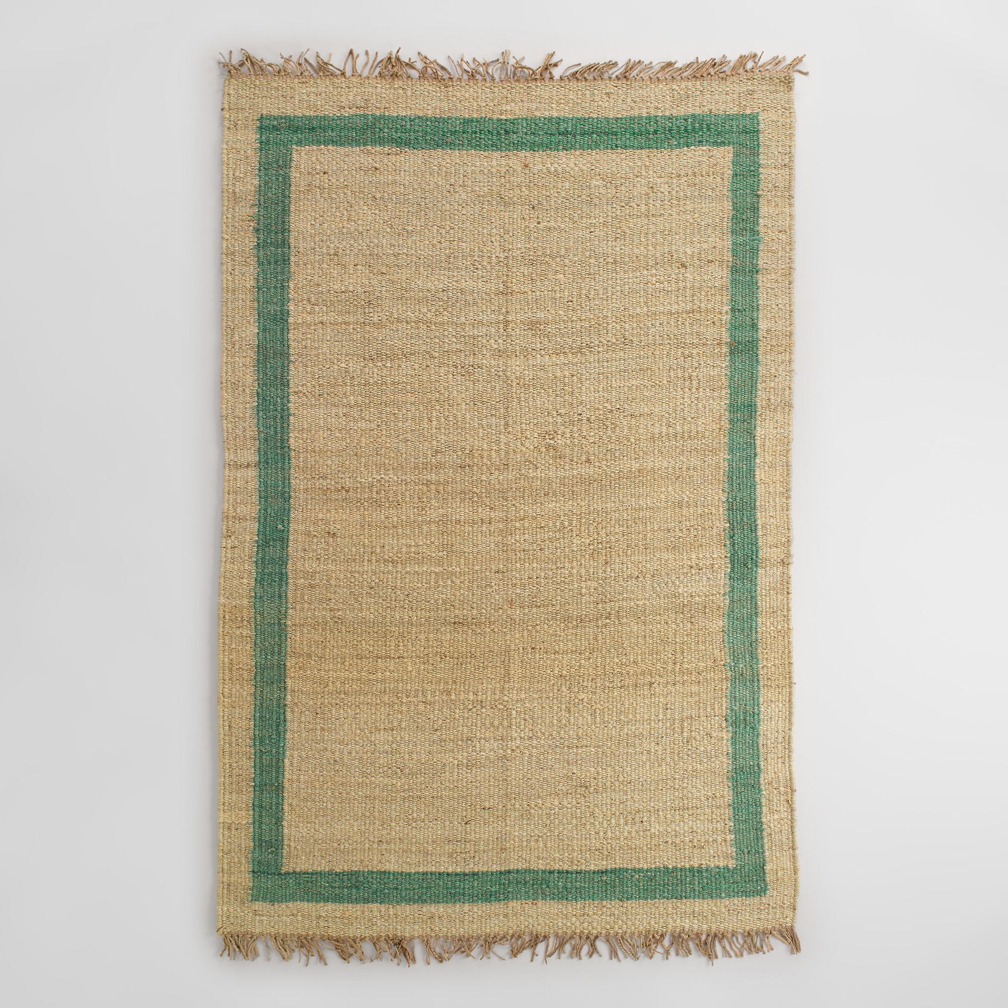 Teal Bordered Woven Jute Area Rug
