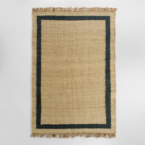 Navy Bordered Woven Jute Area Rug