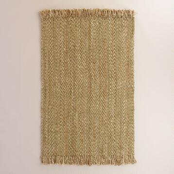 Green Herringbone Weave Jute Area Rug