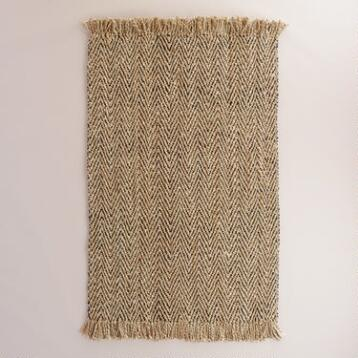 Charcoal Herringbone Weave Jute Area Rug