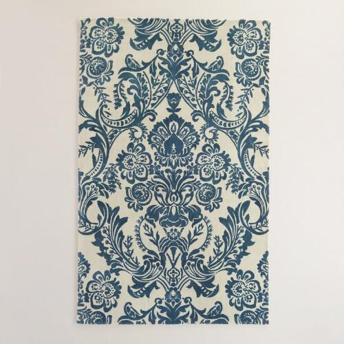 Ivory and Indigo Baroque Tufted Wool Area Rug