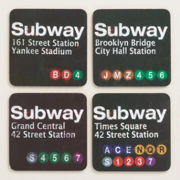 New York City Subway Sign Coasters, 4-Pack