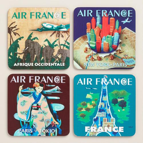Air France Coasters, 4-Pack