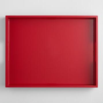 Red Rectangular Lacquer Serving Tray