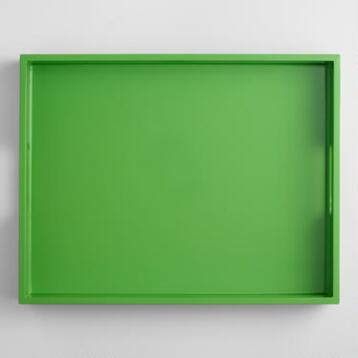 Green Rectangular Lacquer Serving Tray