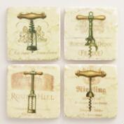 Resin Wine Opener Coasters, 4-Pack