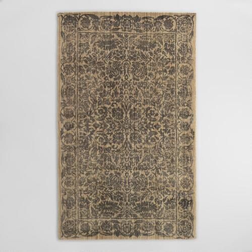 Gray Floral Tufted Wool Sapphire Area Rug