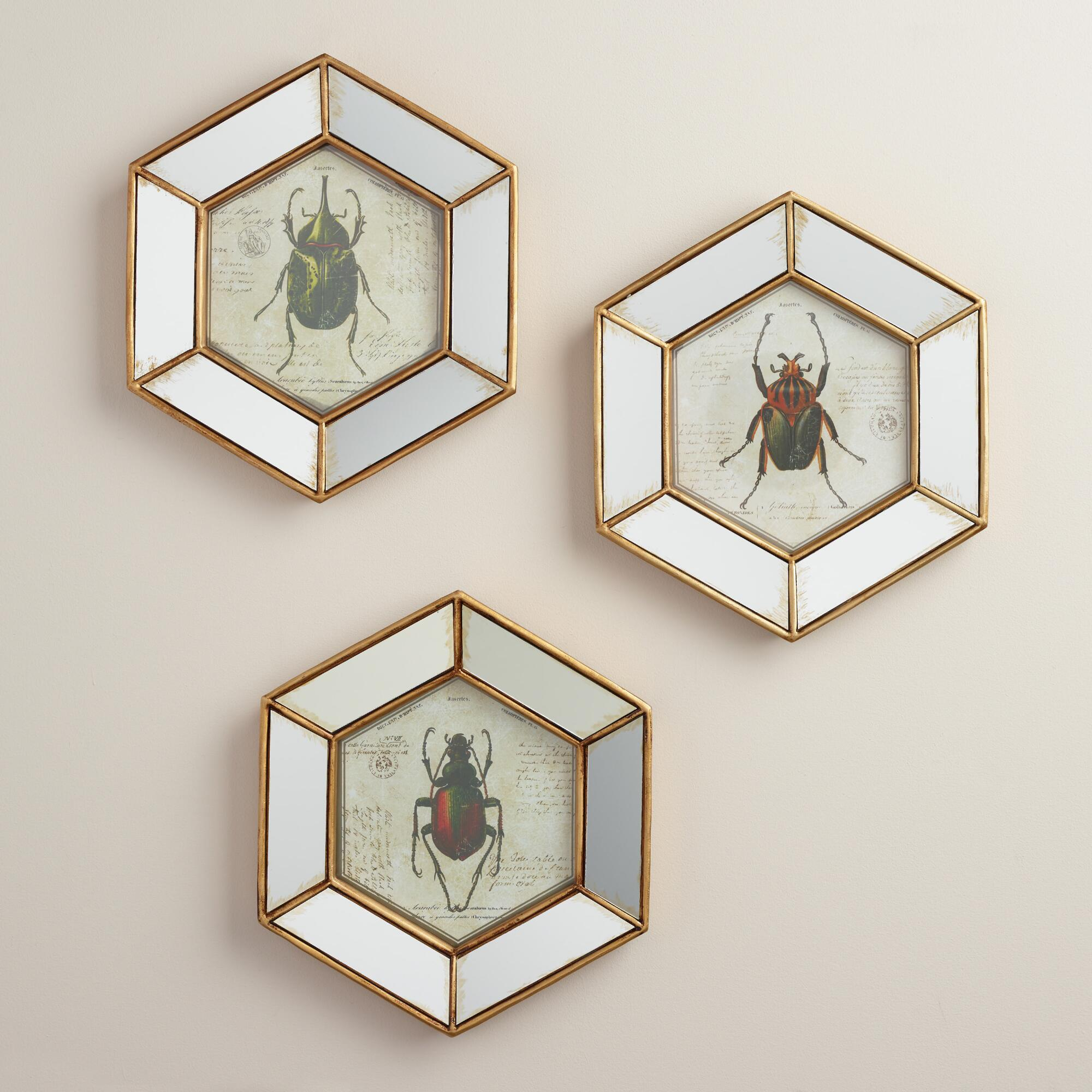 hexagonal mirrored beetle wall art set of 3 world market. Black Bedroom Furniture Sets. Home Design Ideas