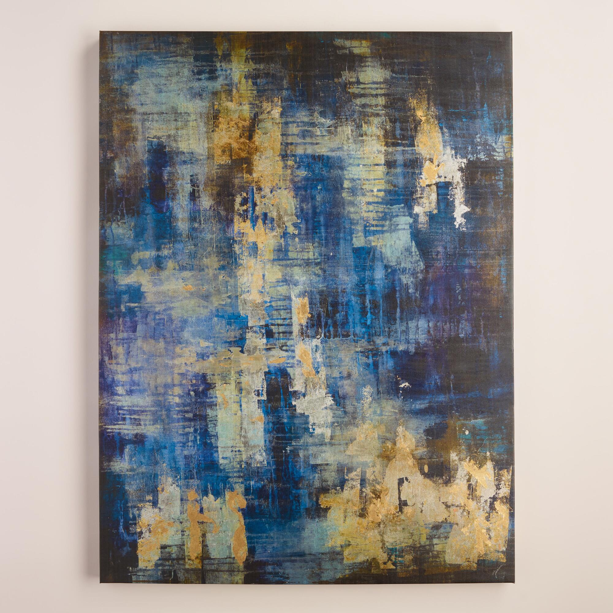 Blue and gold abstract by liz jardine world market for Blue paintings on canvas
