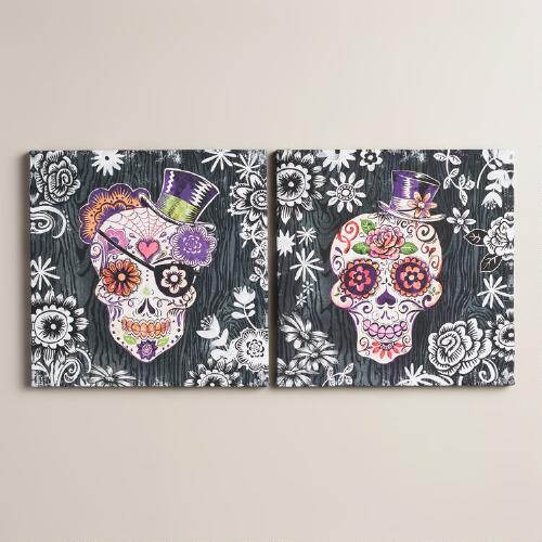 """Sugar Skulls"" by Geoff Allen, Set of 2"