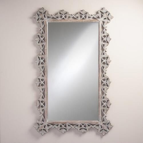 Oversized Gray Carved Elise Mirror