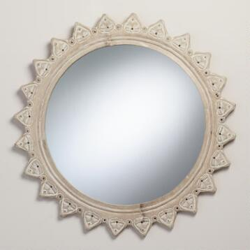 Whitewashed Starburst Devi Mirror