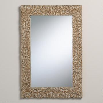 Gray Carved Fleur Mirror