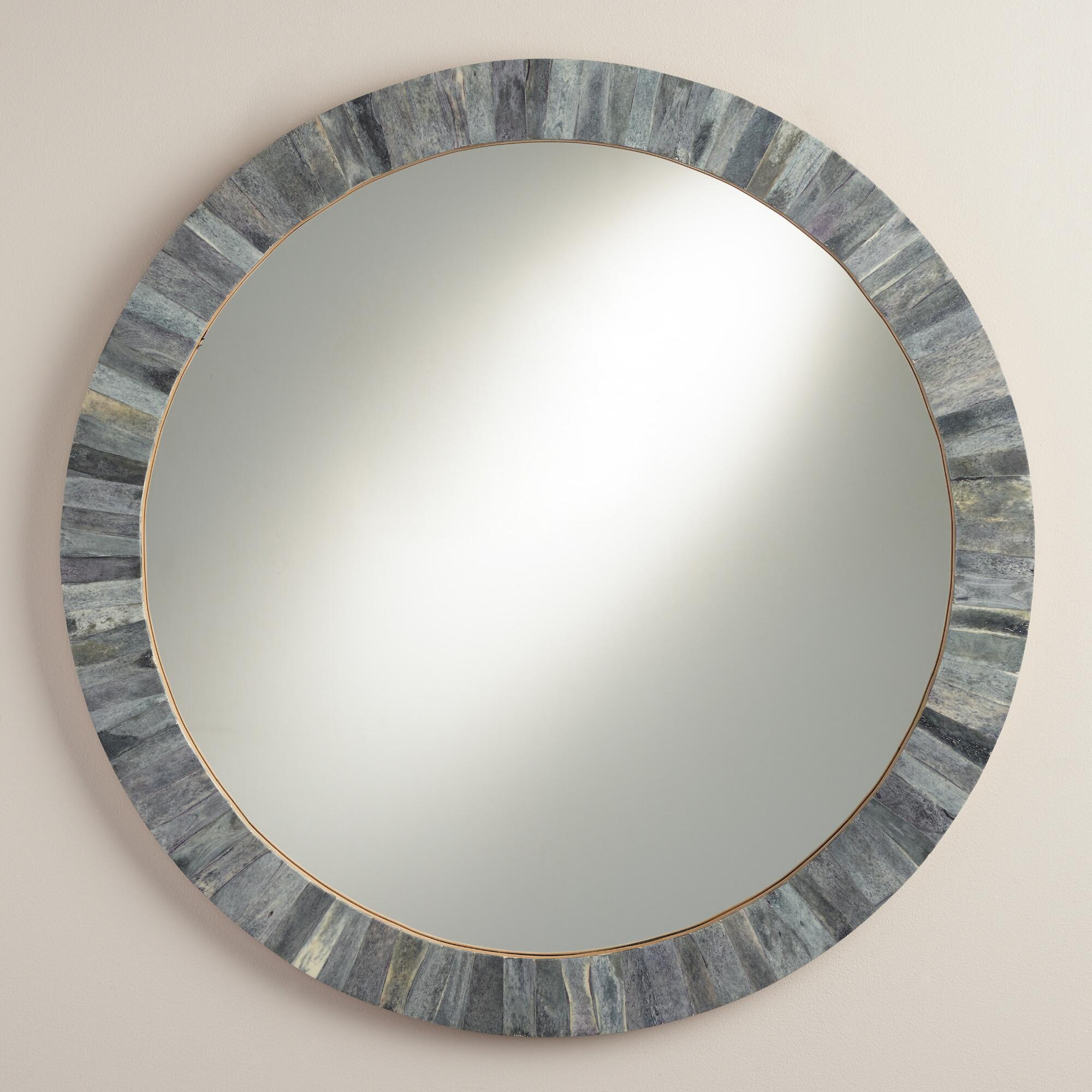 Gray round bone mirror world market for Circle mirror