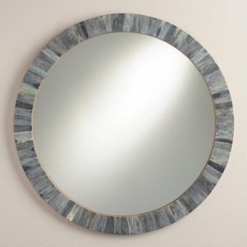 Gray Round Bone Mirror