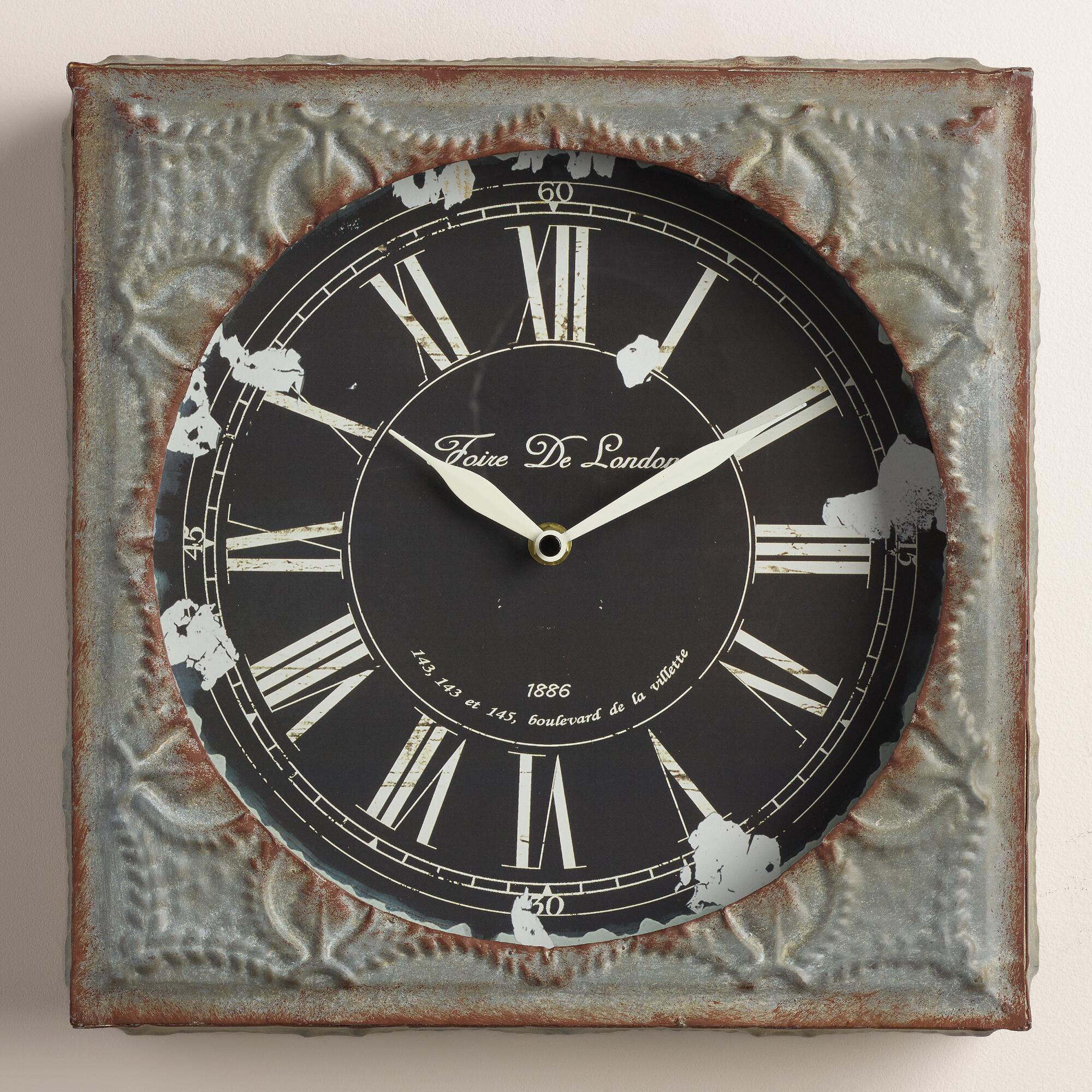 Gray Tile Chloe Wall Clock World Market