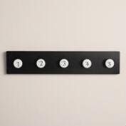 Black Wood and Enamel 5-Hook Wall Storage