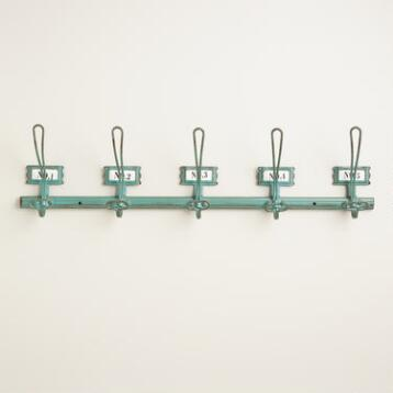Aqua Metal Industrial 5-Hook Wall Storage