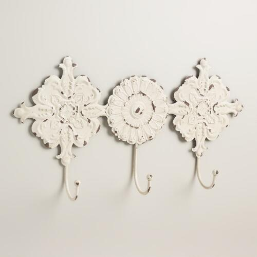 Ivory Venice Tile 3-Hook Wall Storage