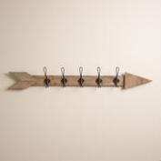 Wood Arrow 5-Hook Wall Storage