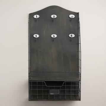 Black Metal and Enamel Alex Wall Storage