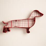 Red Metal Dachshund Wall Storage