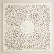 White Carved Wall Plaque, Set of 4