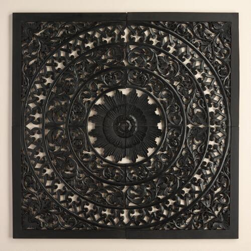 Black Carved Wall Plaque, Set of 4