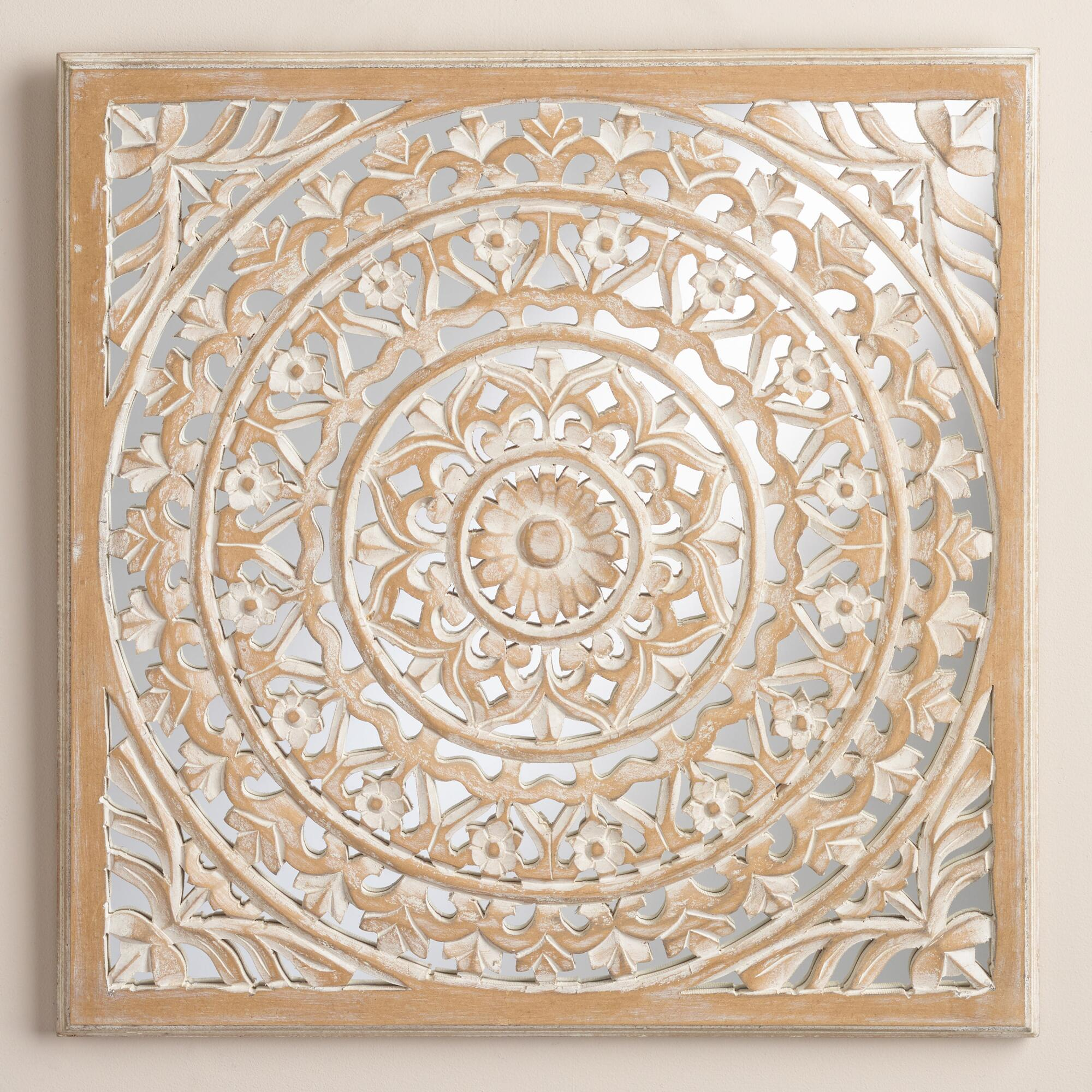 Carved mirrored leela wall plaque world market for Decorative wall decor