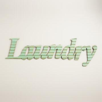 Aqua Metal Laundry Sign