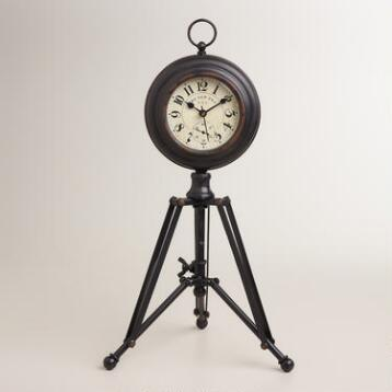 Black Alton Tripod Clock