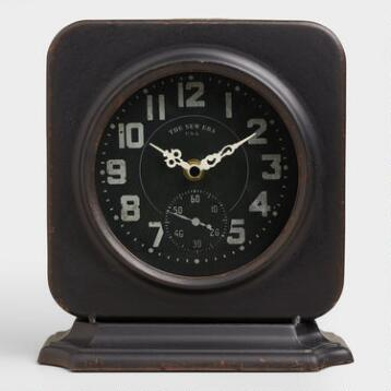 Square Black Metal Filmore Clock