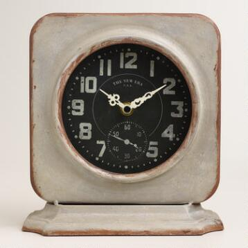 Square Galvanized Metal Filmore Clock
