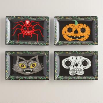Muertos Melamine Appetizer Plates, Set of 4