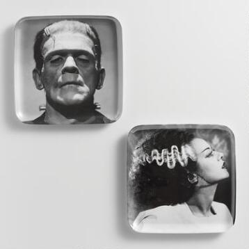 Bride and Frankenstein Melamine Appetizer Plates, Set of 6