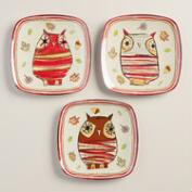 Owl Melamine Plates, Set of 6