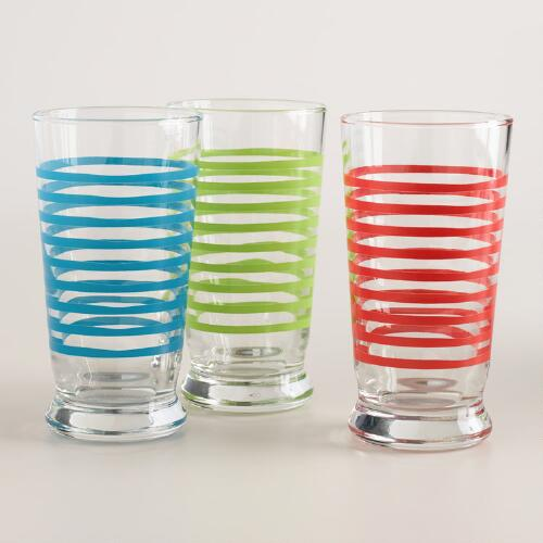 Striped Glass Tumblers, Set of 6