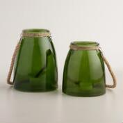 Green Glass Lantern with Jute Handle