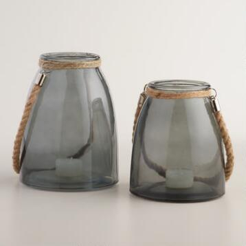 Gray Glass Lantern with Jute Handle