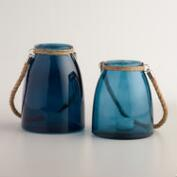 Blue Glass Lantern with Jute Handle