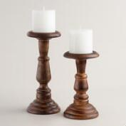 Burnt Wood Connor Pillar Candleholder
