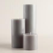 Dark Gray Unscented Pillar Candle