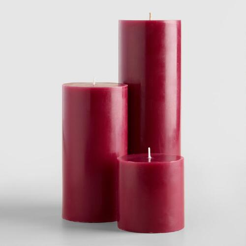 Plum Unscented Pillar Candle