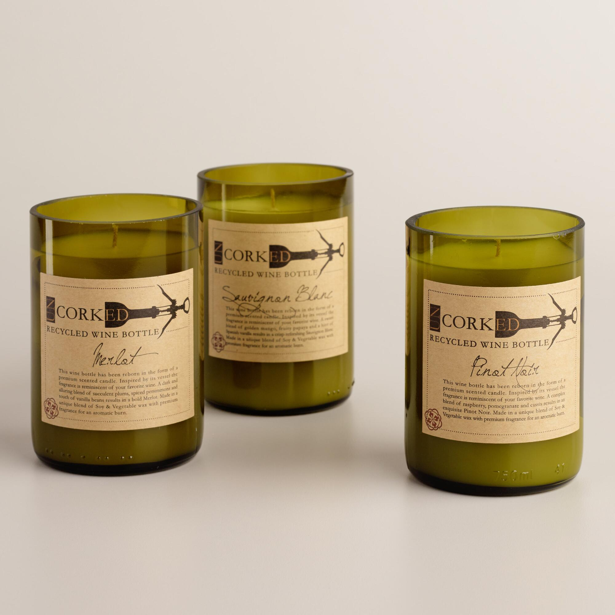 Wine Bottle Filled Candle