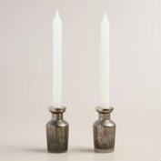 Mercury Glass Bottle Taper Candleholders, Set of 2