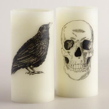 Skull and Crow Flameless LED Pillar Candles, Set of 2